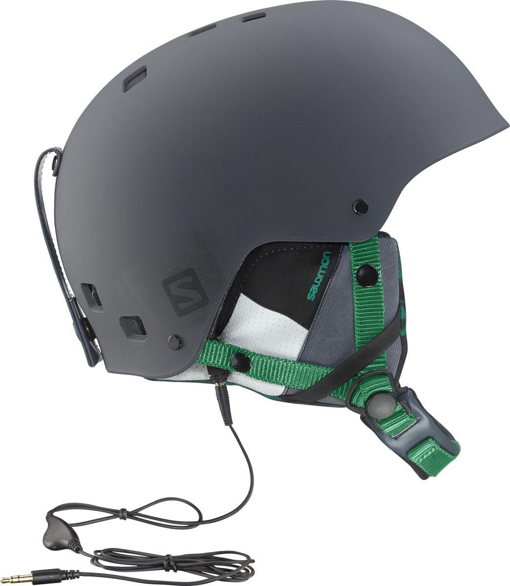 Шлем горнолыжный Salomon Helmet Brigade Audio Grey/Forest Gr. Размер S (55/56) горнолыжный шлем salomon salomon allium custom air черный s 53 56