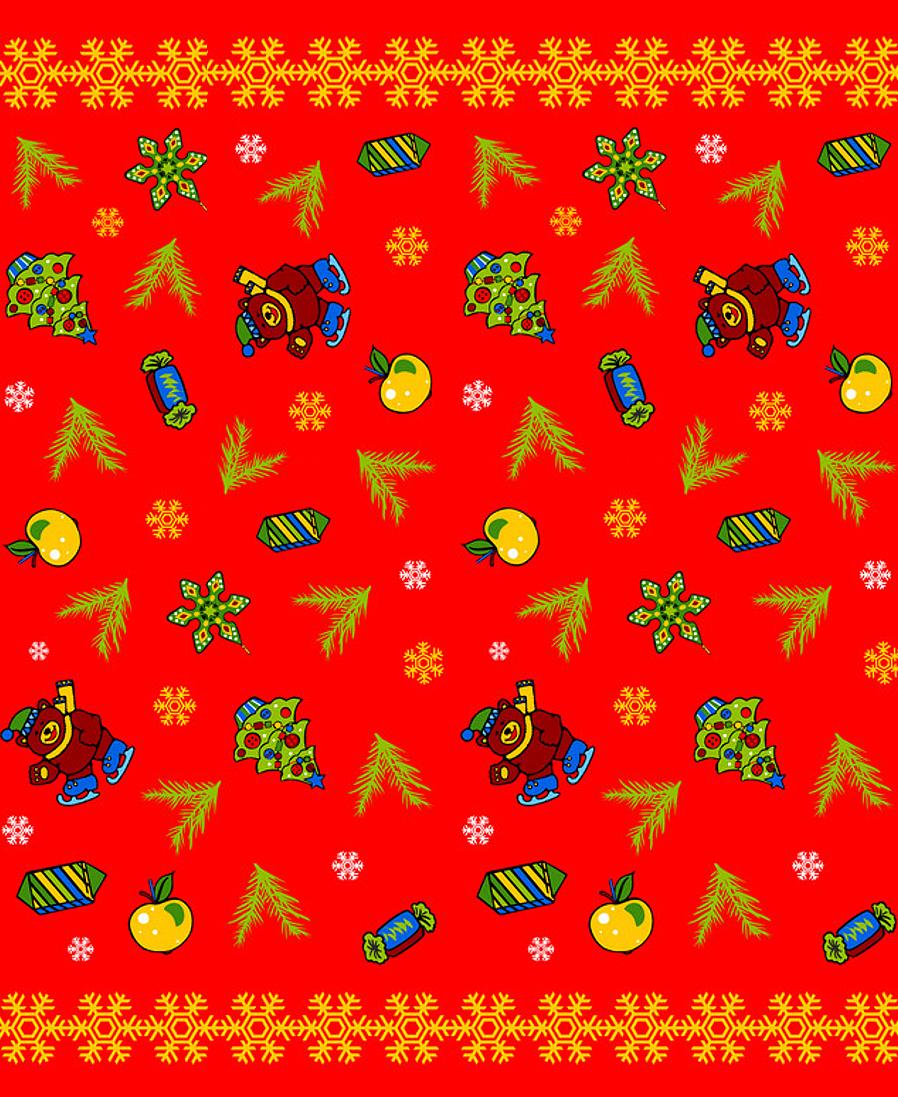 """Скатерть Мультидом """"Новогодние шары"""", цвет: красный, 148 х 225 см"""
