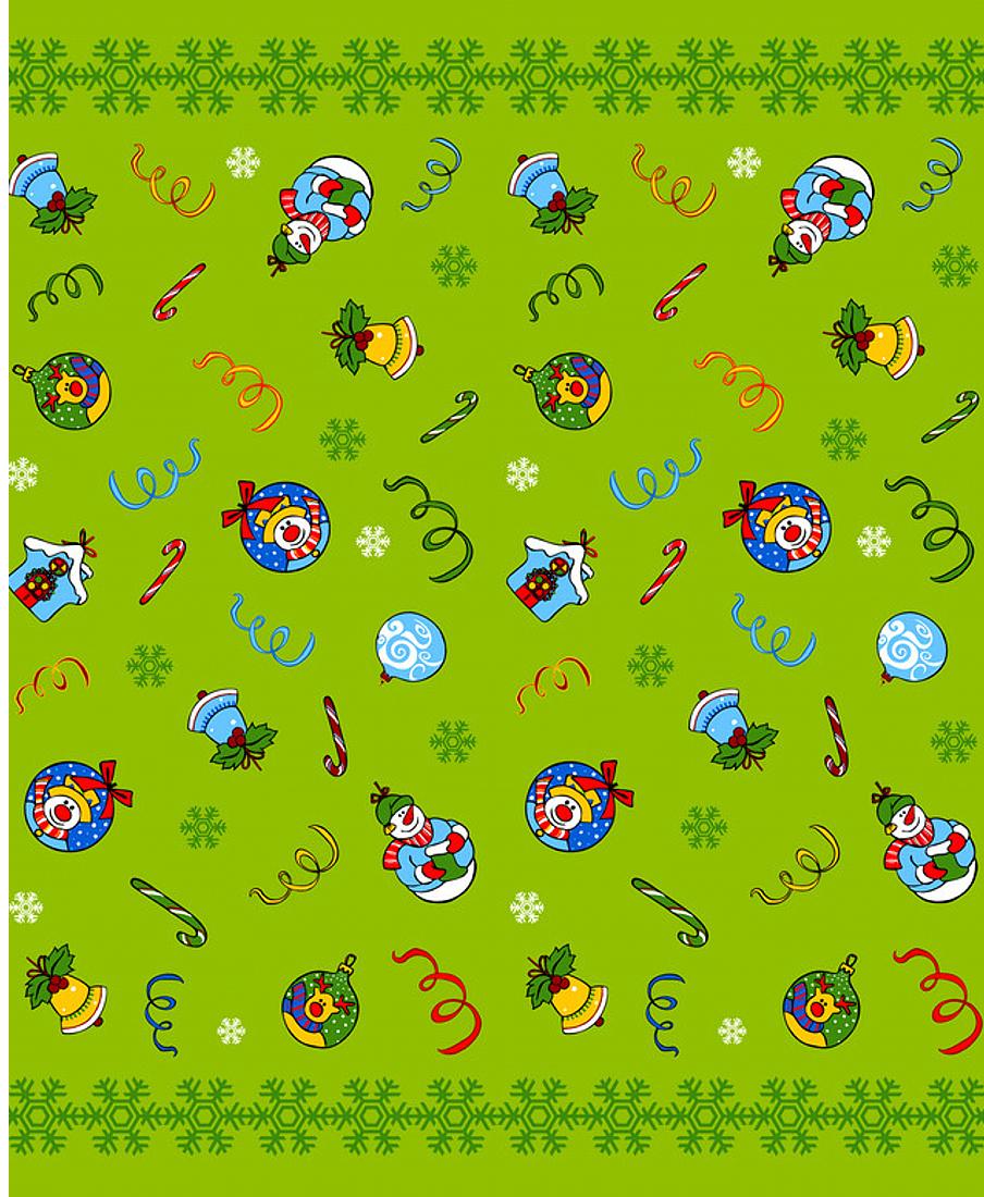 """Скатерть Мультидом """"Новогодние шары"""", цвет: зеленый, 148 х 225 см"""