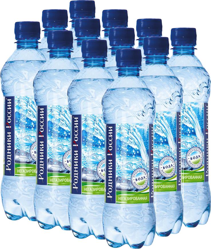 Родники России вода минеральная природная столовая негазированная, 12 штук по 0,5 л
