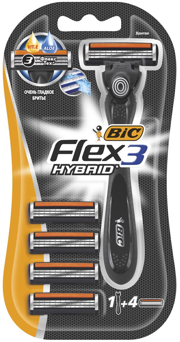 """Bic Бритва """"Flex 3 Hybrid"""", блок 4 шт"""