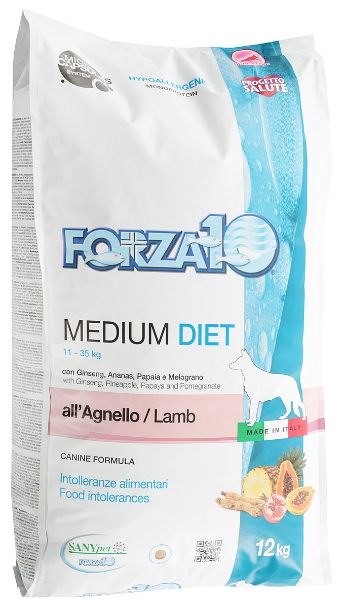 Фото - Корм сухой Forza10 Diet для взрослых собак средних пород, с ягненком с микрокапсулами, 12 кг trixie стойка с мисками trixie для собак 2х1 8 л
