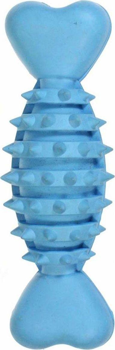 Игрушка для собак Gaffy Pet Косточка с шипами средняя, цвет: голубой, 16 см pitbull боксер золотой шипы шипованная кожа собак pet жгут для больших собак