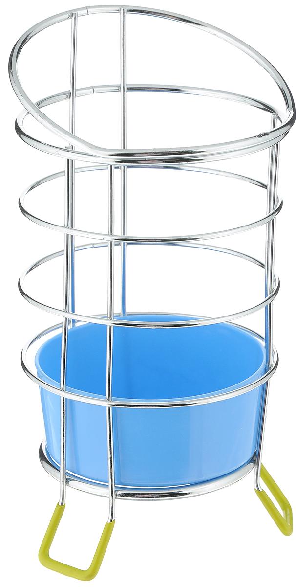 Подставка для столовых приборов Мультидом,  поддоном, цвет: синий, стальной, высота 19 см