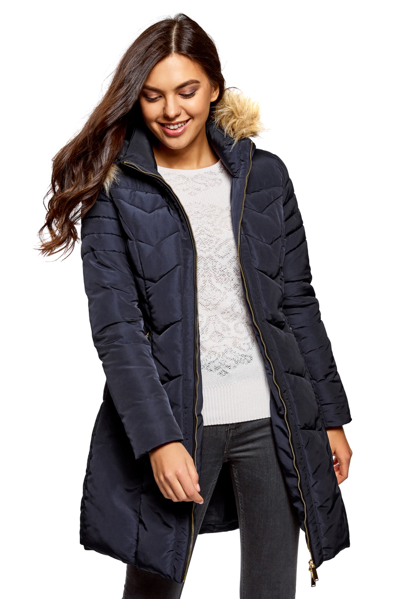 Куртка oodji Collection свитшот с искусственным мехом с капюшоном 10 16 лет