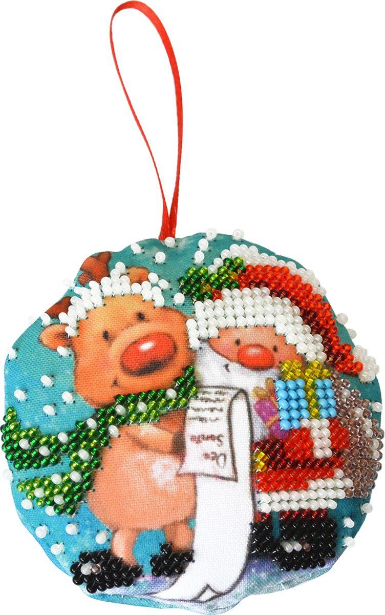 Набор для вышивания бисером Созвездие Новогодняя игрушка. Дедушка Мороз, 8,5 х 8,5 см набор для вышивания крестом созвездие новогодняя игрушка сосновая шишка 6 х 7 5 см