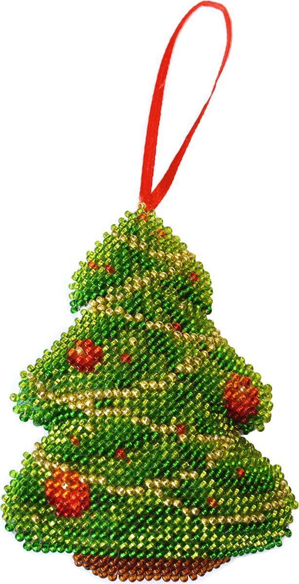 Набор для вышивания бисером Созвездие Новогодняя игрушка. Елочка, 7 х 9,5 см набор для вышивания крестом созвездие новогодняя игрушка сосновая шишка 6 х 7 5 см