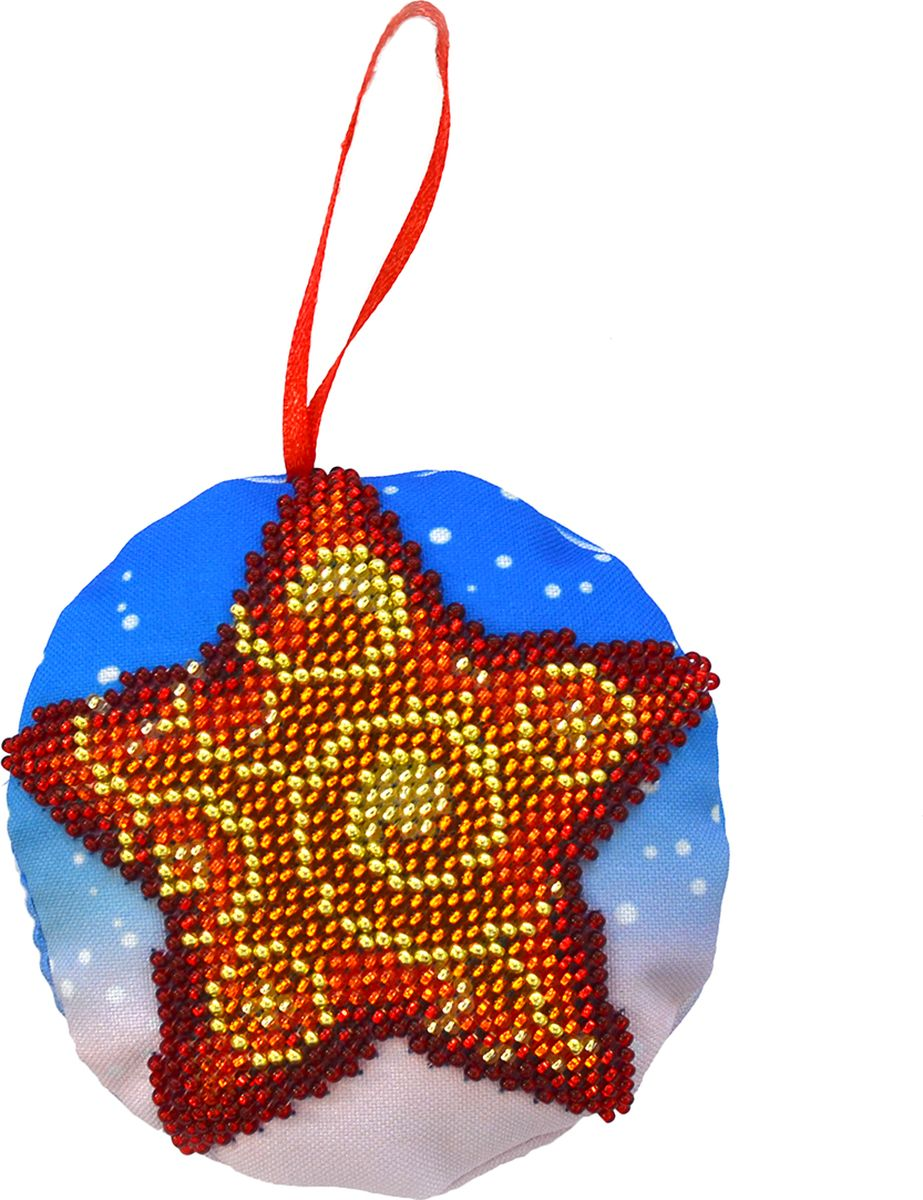 Набор для вышивания бисером Созвездие Новогодняя игрушка. Звездочка, 8,5 х 8,5 см набор для вышивания крестом созвездие новогодняя игрушка сосновая шишка 6 х 7 5 см