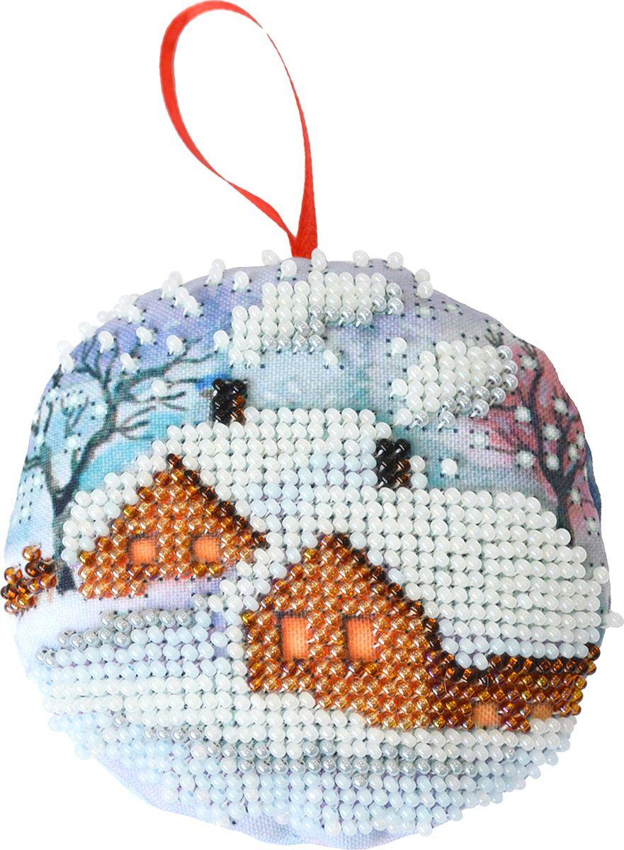 Набор для вышивания бисером Созвездие Новогодняя игрушка. Зимний теремок, 8,5 х 8,5 см набор для вышивания бисером созвездие новогодняя игрушка сапожок 9 х 6 см