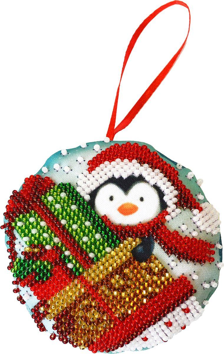 Набор для вышивания бисером Созвездие Новогодняя игрушка. Подарки, 8,5 х 8,5 см набор для вышивания крестом созвездие новогодняя игрушка сосновая шишка 6 х 7 5 см