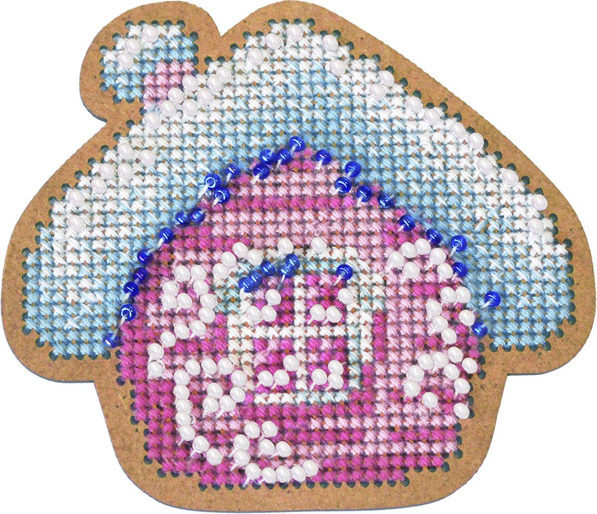 Набор для вышивания крестом Созвездие Новогодняя игрушка. Избушка, 7 х 8 см набор для вышивания бисером созвездие новогодняя игрушка сапожок 9 х 6 см