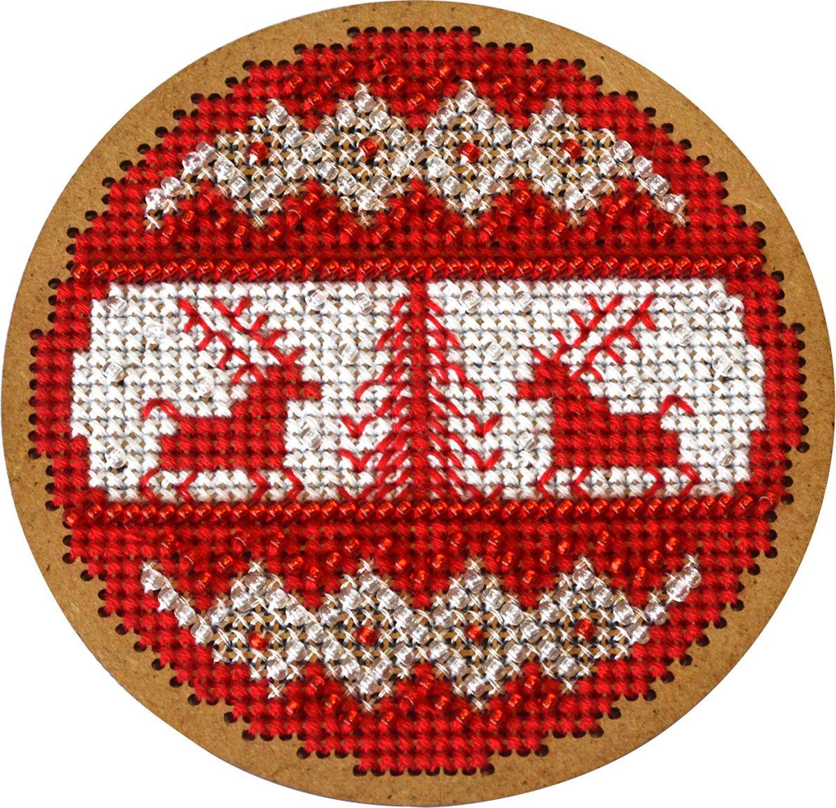 Набор для вышивания крестом Созвездие Новогодняя игрушка. Скандинавский узор, 8,5 х 8,5 см набор для вышивания крестом созвездие добрая дорога подорожница 9 х 4 5 см