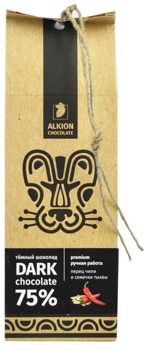 Alkion шоколад горький перец чили и тыквенные семечки, 100 г