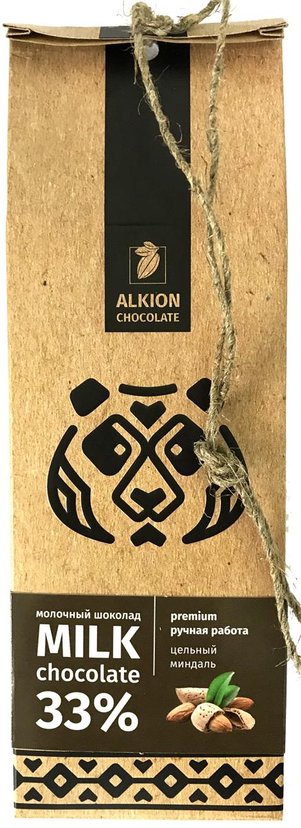 Alkion шоколад молочный с цельным миндалем, 100 г