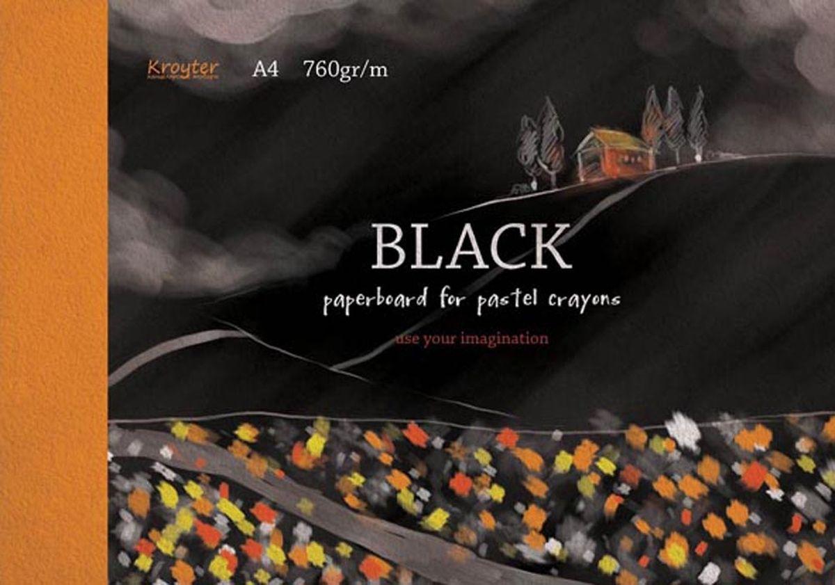 Kroyter Альбом для рисования пастелью цвет черный 10 листов недорого