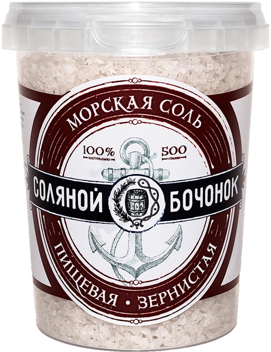 Соляной Бочонок соль морская зернистая помол №2, 500 г хлеб соль палочки с солью 200 г
