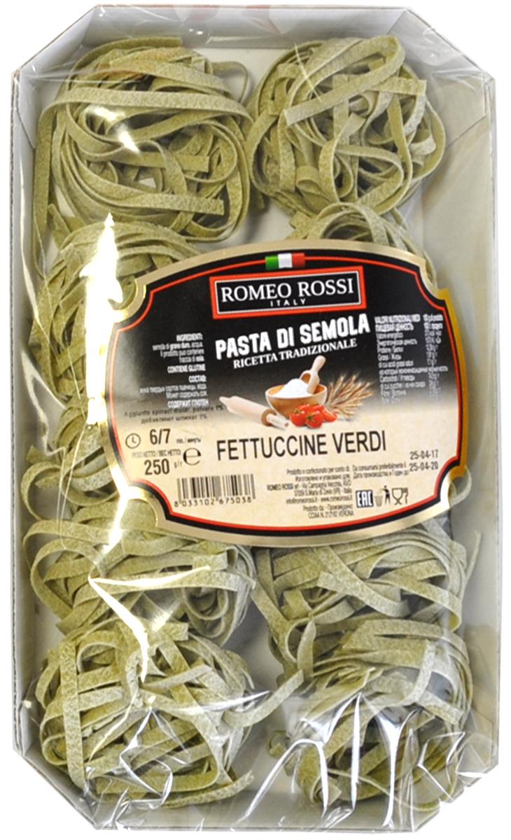 Romeo Rossiпаста из муки твердых сортов феттучине со шпинатом, 250 г Romeo Rossi