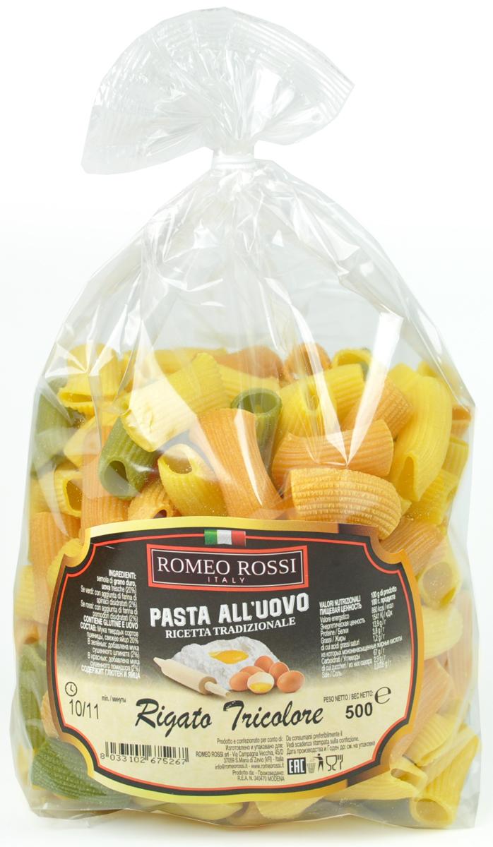 Romeo Rossi паста яичная 4 яйца ригатони трехцветная, 500 г