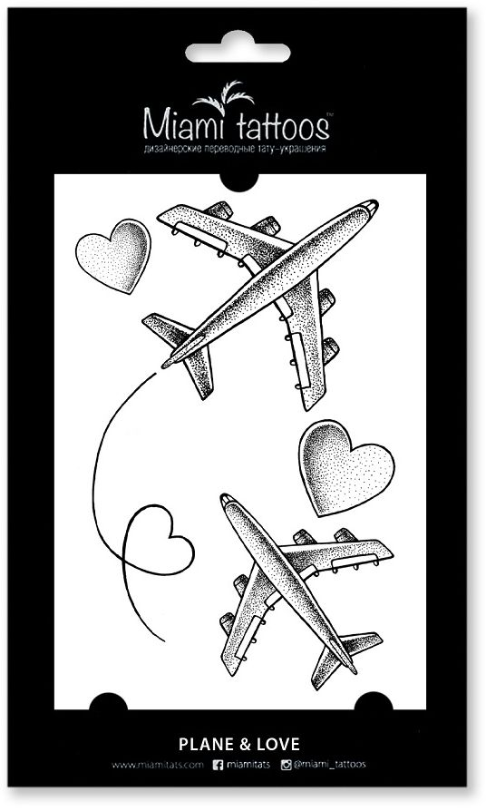 Miami Tattoos Переводные тату Plane & Love, 1 лист, 10 см х 15 см