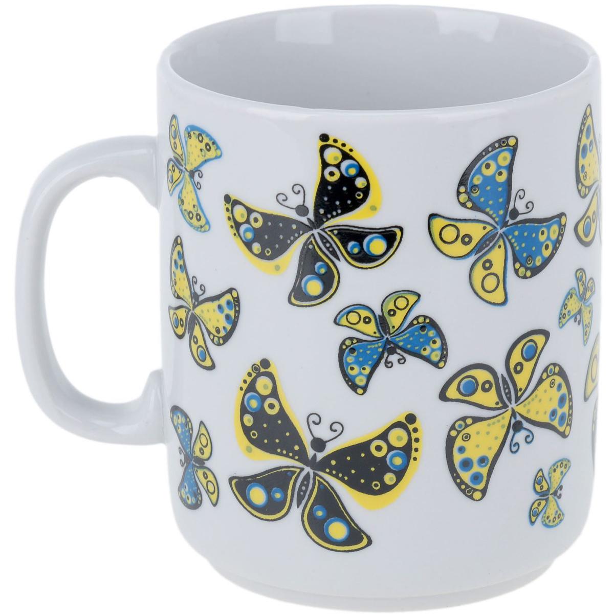 Кружка Фарфор Вербилок Солнечные бабочки, 300 мл блюдо для яиц фарфор вербилок розовые герберы 26351660уп