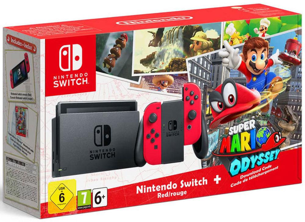 лучшая цена Игровая консоль Nintendo Switch, Red + Super Mario Odyssey
