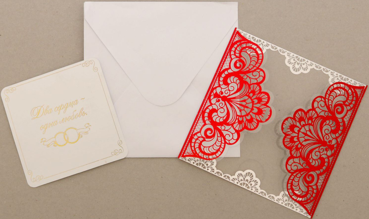 """Приглашение на свадьбу """"Два сердца - одна любовь"""", цвет: красный, 12 х 12 см"""