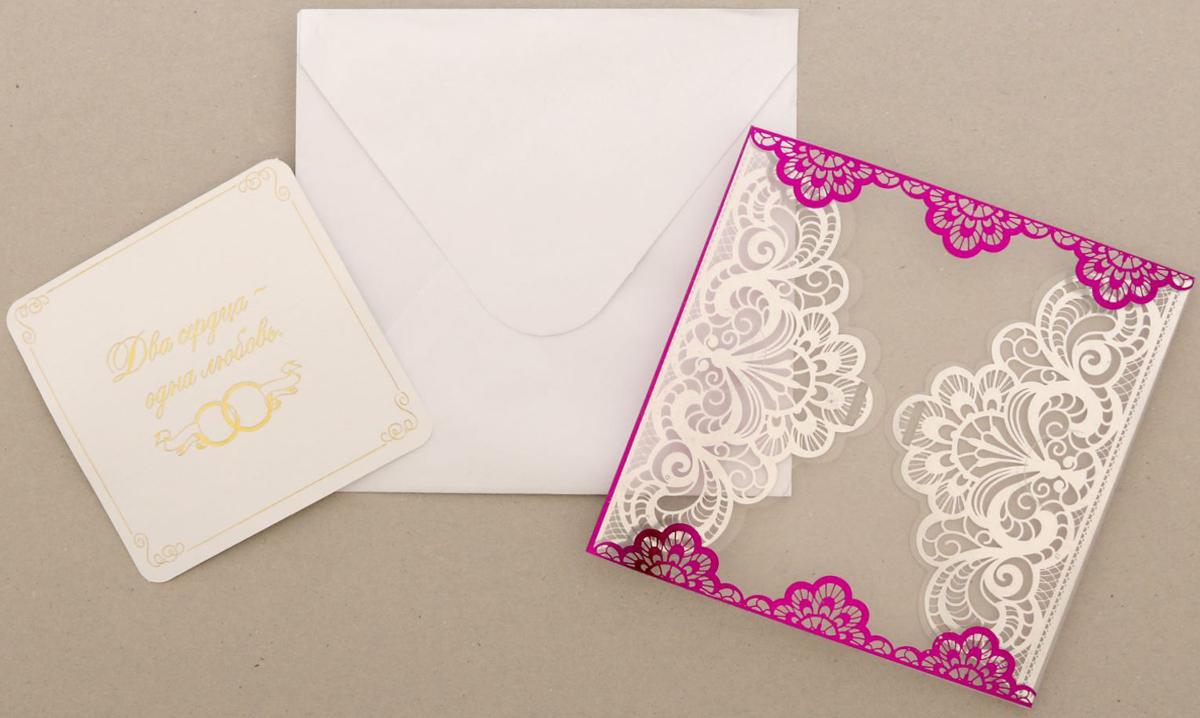 """Приглашение на свадьбу """"Два сердца - одна любовь"""", цвет: фиолетовый, 12 х 12 см"""