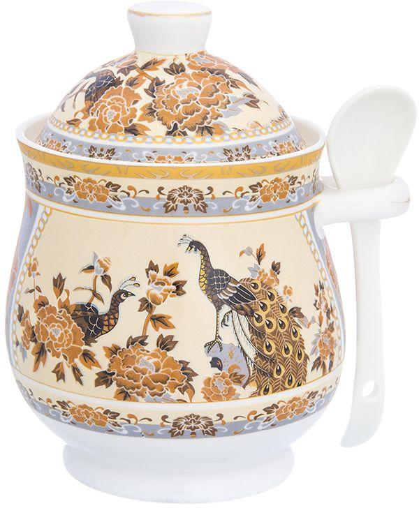 Горшочек для меда Elan Gallery Павлин на бежевом, с ложкой, 400 мл сахарница elan gallery павлин на бежевом 400 мл