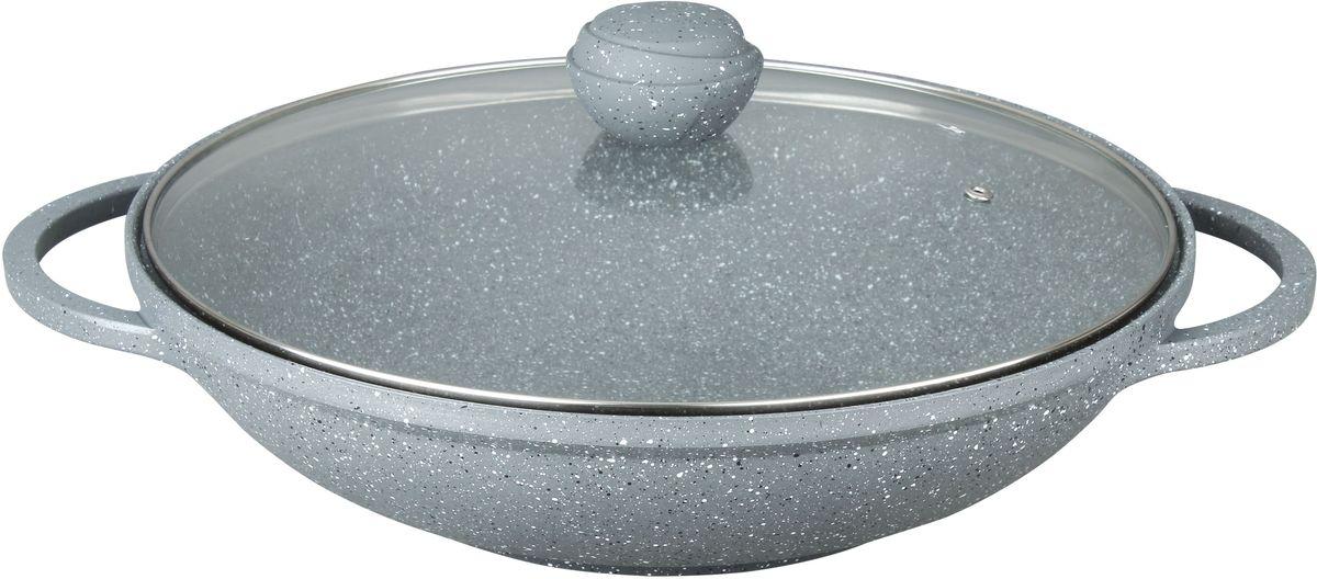 Вок Bekker Silver Marble с крышкой, с антипригарным покрытием. Диаметр 32 см. BK-3819 цена
