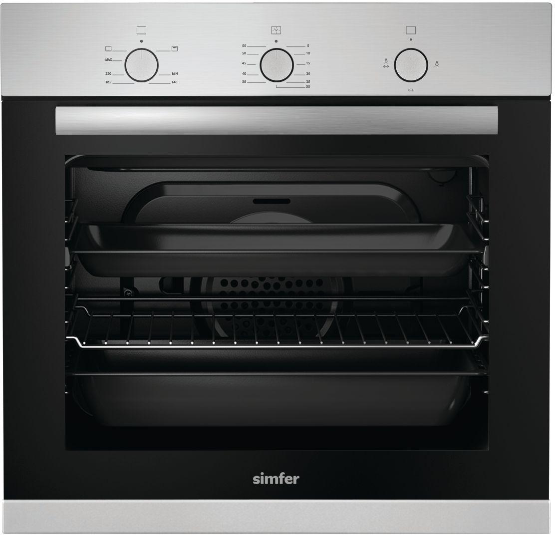 Духовой шкаф газовый встраиваемый Simfer B6GM12011, Silver духовой шкаф simfer b6eb16011