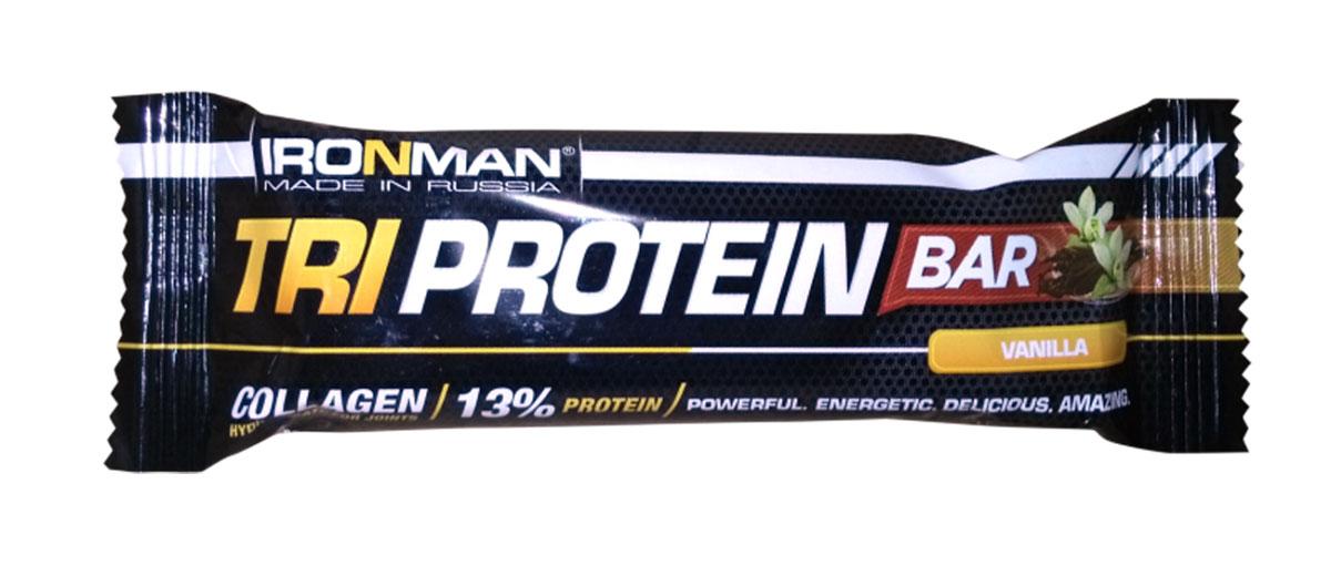 Фото - Батончик Ironman Tri Protein Bar, ваниль, темная глазурь, 50 г батончик протеиновый ironman protein bar с коллагеном карамель темная глазурь 50 г 6 шт