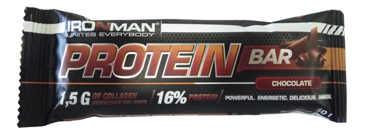 Фото - Батончик Ironman Protein Bar, с коллагеном, шоколад, темная глазурь, 50 г батончик протеиновый ironman protein bar с коллагеном карамель темная глазурь 50 г 6 шт