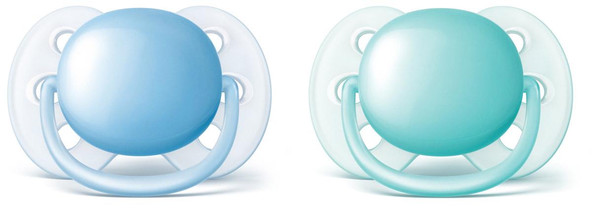 Philips Avent Пустышка силиконовая ортодонтическая Ultra Soft для мальчиков от 6 до 18 месяцев 2 шт SCF212/22