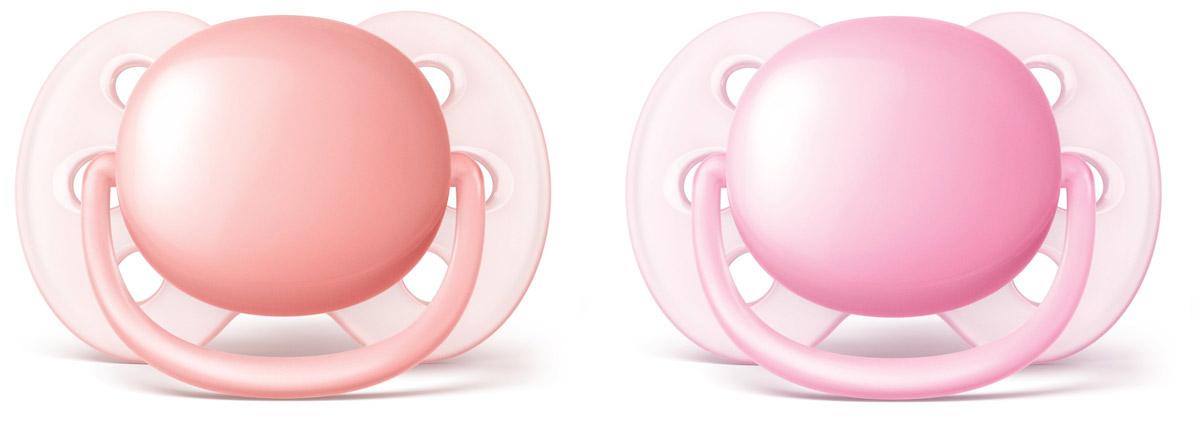 Philips Avent Пустышка силиконовая ортодонтическая Ultra Soft для девочек от 0 до 6 месяцев 2 шт SCF213/20