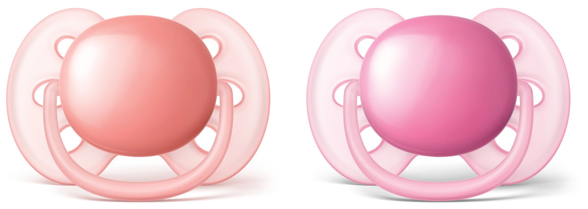 Philips Avent Пустышка силиконовая ортодонтическая Ultra Soft для девочек от 6 до 18 месяцев 2 шт SCF213/22