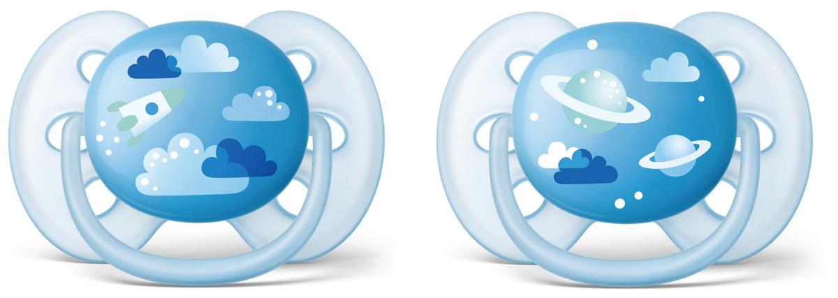 Philips Avent Пустышка силиконовая ортодонтическая Ultra Soft для мальчиков от 6 до 18 месяцев 2 шт SCF222/22