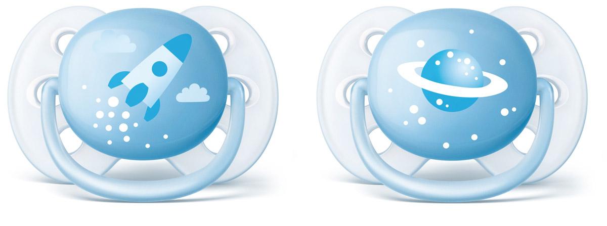 Philips Avent Пустышка силиконовая ортодонтическая Ultra Soft для мальчиков от 0 до 6 месяцев 2 шт SCF222/20