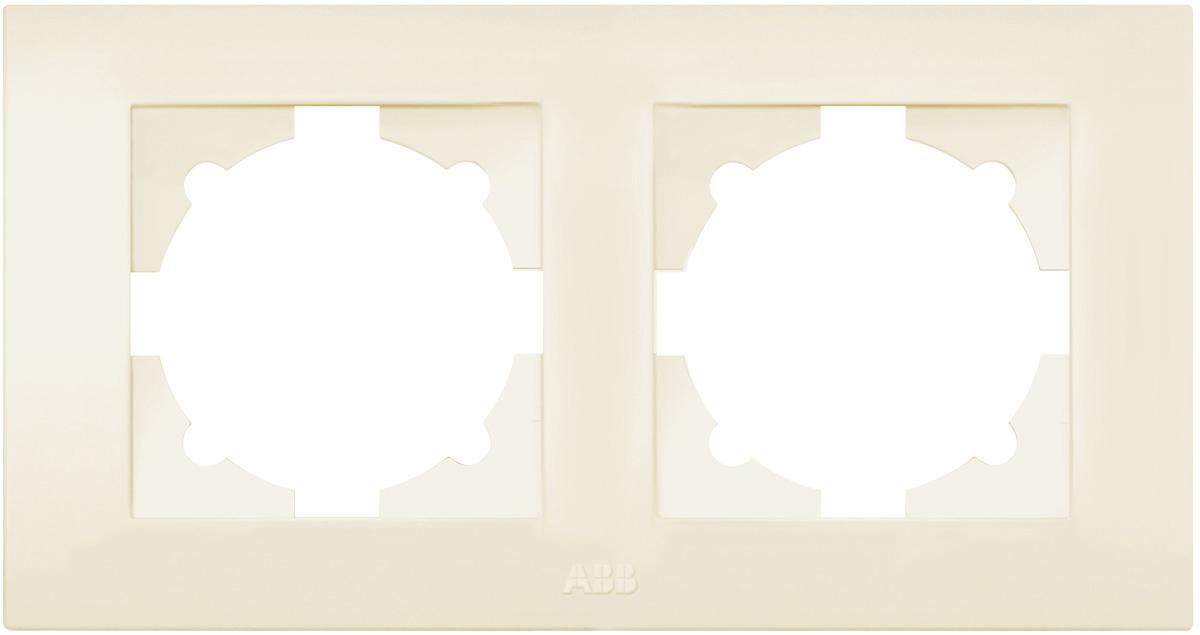 Рамка электроустановочная ABB Cosmo, на 2 поста, цвет: кремовый рамка для розеток и выключателей bjb basic55 2 поста цвет чёрный