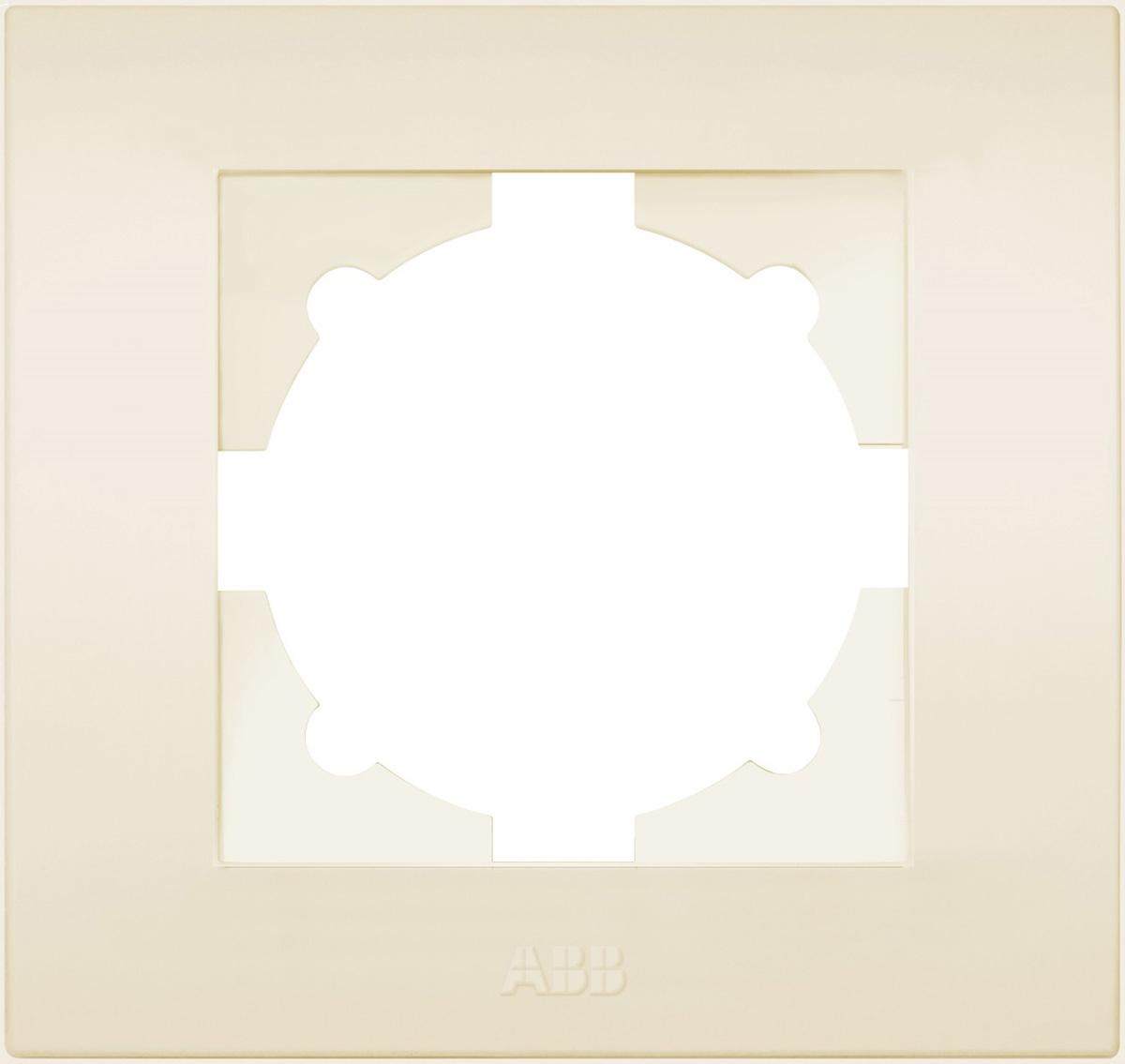 Рамка электроустановочная ABB Cosmo, на 1 пост, цвет: кремовый рамка для розеток и выключателей горизонтальная 1 пост цвет бежевый