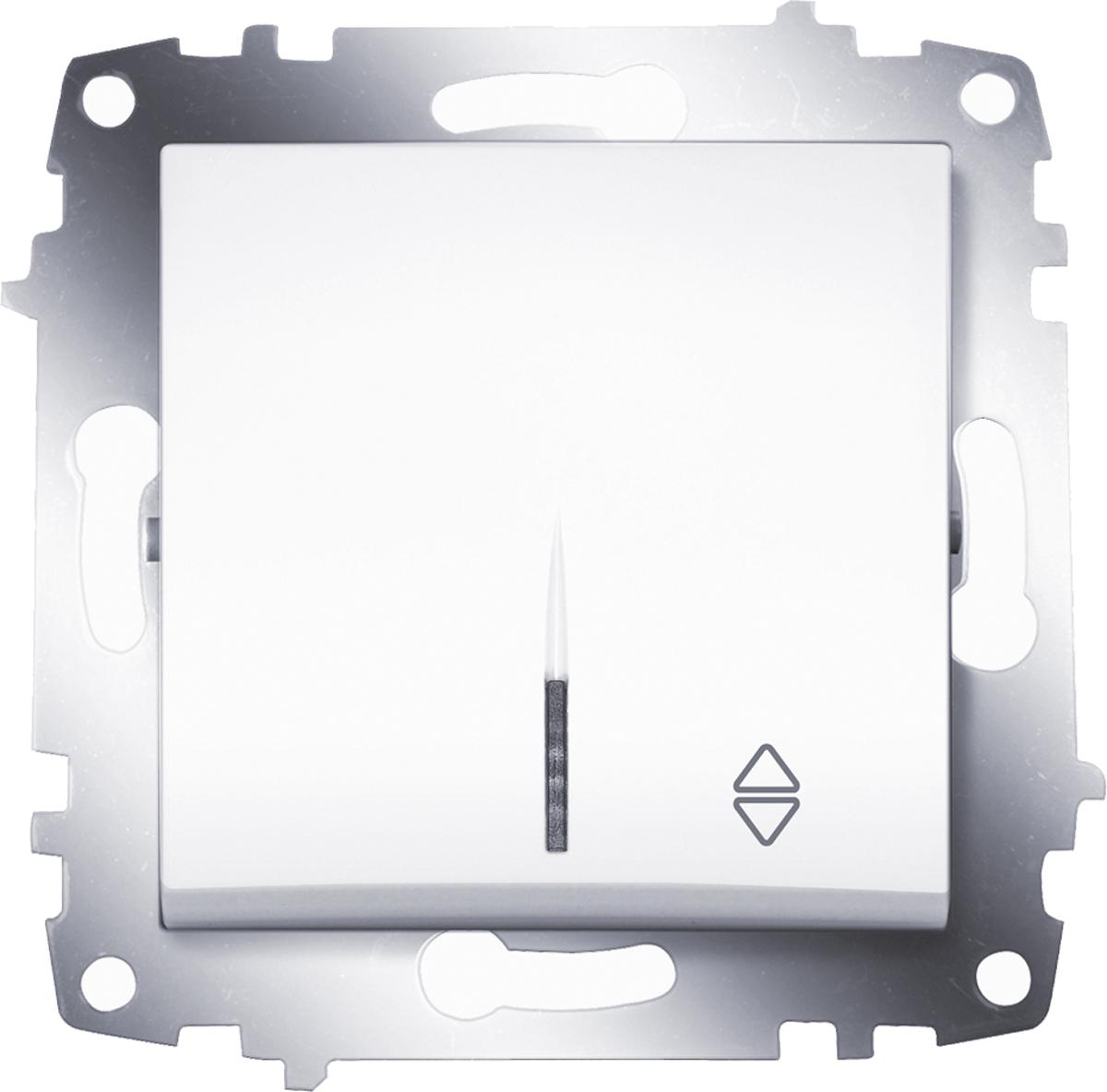 Переключатель ABB Cosmo, одноклавишный, схема 6, с подсветкой, цвет: белый цена