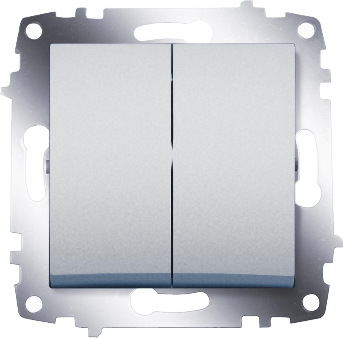 """Выключатель ABB """"Cosmo"""", двухклавишный, цвет: алюминиевый"""