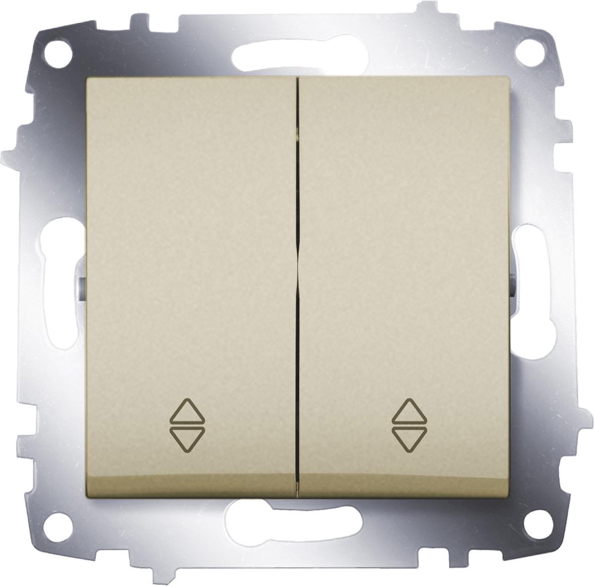 Переключатель ABB Cosmo, двухклавишный, схема 6, цвет: титаниум розетка abb bjb basic 55 шато 2 разъема с заземлением моноблок цвет чёрный