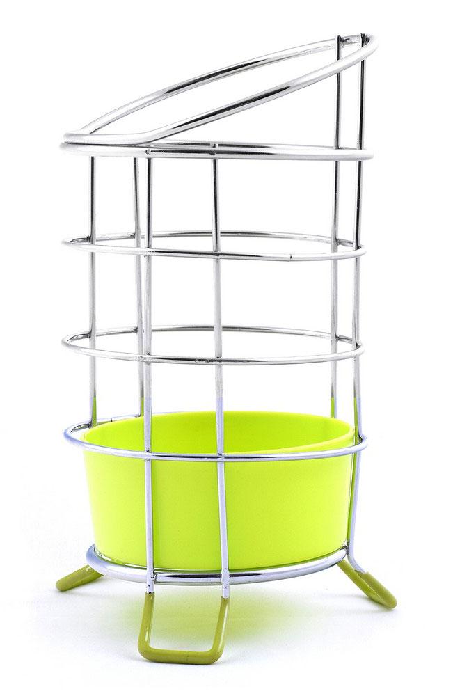 Подставка для столовых приборов Мультидом,  поддоном, цвет: салатовый, стальной, высота 13 см