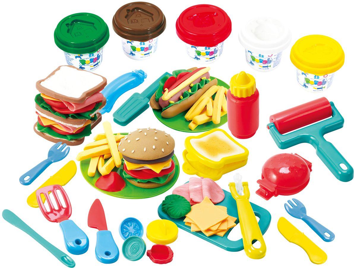 Playgo Набор для лепки Dough Гамбургер playgo набор с пластилином и аксессуарами в корзине 8750