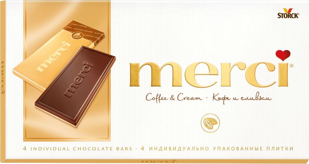Merci кофе и сливки шоколад, 100 г шоколад merci горький 72%