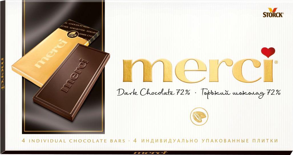 Merci горький шоколад 72%, 100 г шоколад merci горький 72%
