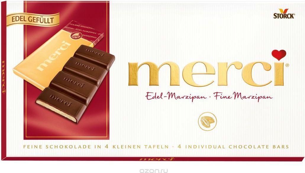 Merci Шоколад c марципаном, 112 г шоколад merci горький 72%