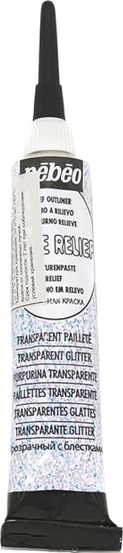 Pebeo Рельефная краска Cerne relief цвет 775020 прозрачный с блестками 45 мл