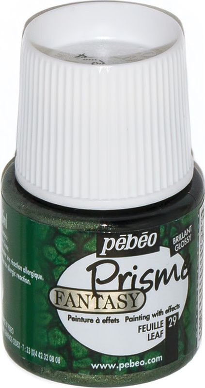 Pebeo Краска Fantasy Prisme с фактурным эффектом цвет 166029 темно-зеленый 45 мл166029Уникальная краска с эффектами для любых горизонтальных и ровных поверхностей. Эффект проявляется самостоятельно в процессе высыхания, образуя неповторимый рисунок. Изготовлена на основе органического растворителя - сольвента. Применение: Хорошо размешать краску деревянной палочкой перед применением. Не взбалтывать! Можно наносить кистью или пипеткой, или непосредственно вылив из флакона толстым слоем на основу или ровную горизонтальную поверхность, предварительно обезжиренную. Поверхностное высыхание 6 часов, полное - 72 часа. Возникающий при использовании краски эффект позволяет применять ее для создания украшений и декорирования: наносить на металл, фарфор, керамику, пластик, холст, зеркало, стекло, дерево и многие другие поверхности. Разбавление-очистка: Растворитель без запаха или уайт-спирит. Уважаемые клиенты! Обращаем ваше внимание на то, что упаковка может иметь несколько видов дизайна. Поставка осуществляется в зависимости от наличия на складе.