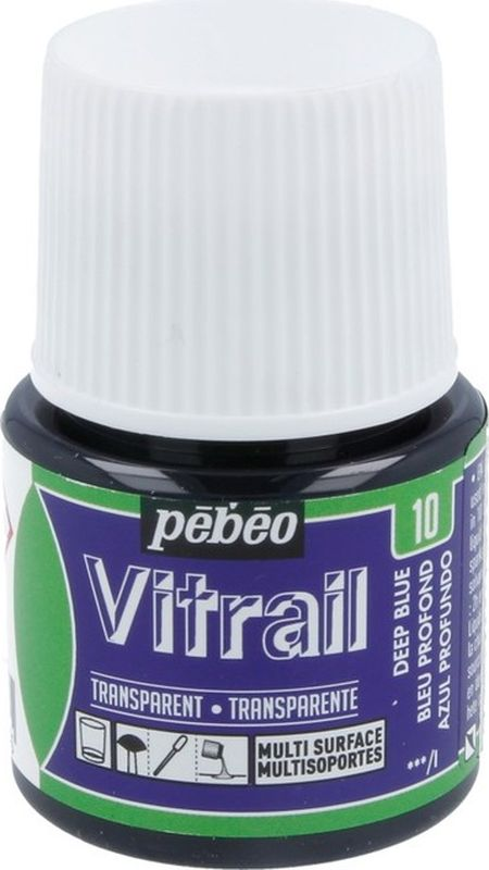 Pebeo Краска для стекла и металла Vitrail лаковая прозрачная цвет 050-010 темно-синий 45 мл